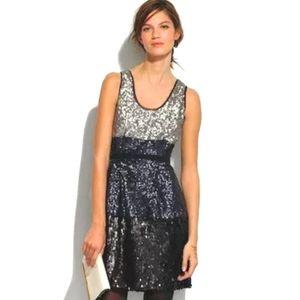 Madewell Broadway and Broome Colorblock Sequin Tank Dress Navy Black Sliver SZ 6